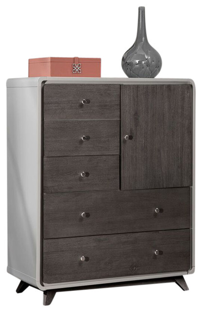 Brenton 5-Drawer Door Chest, Gray With Gray.