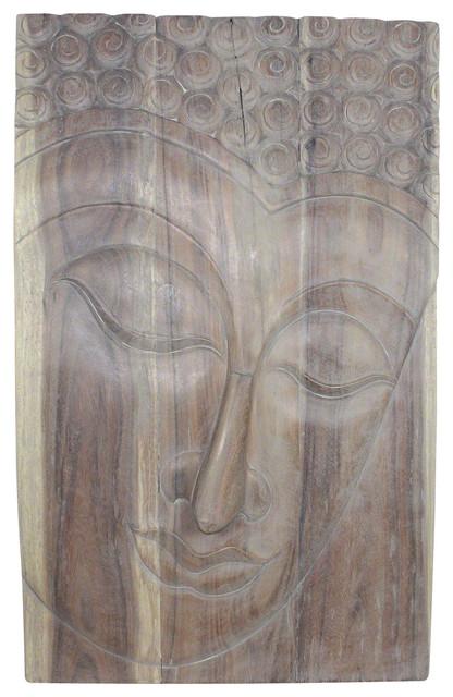 Buddha Panel Serene Sustainable Acacia Wood, Livos Agate Gray Oil Finish.
