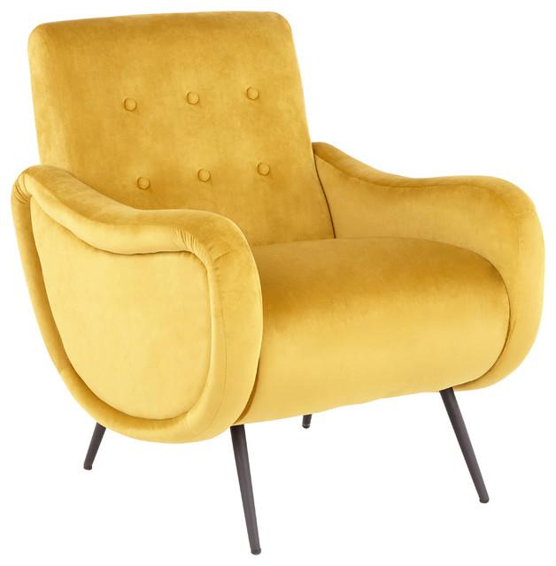 LumiSource Rafael Lounge Chair, Black Metal and Yellow Velvet