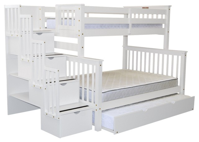 Bedz King Bunk Beds Twin over Full Stairway, 4 Step Drawers, Twin Trundle, White