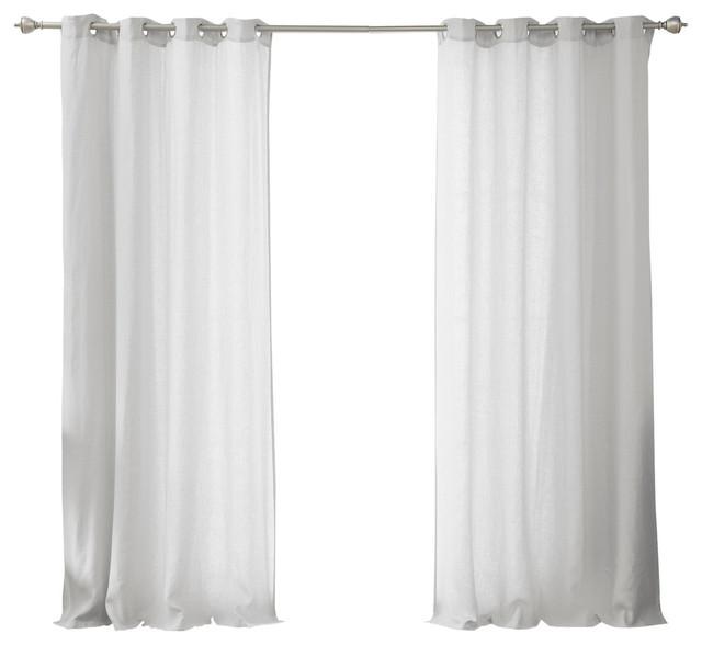 Belgian Flax Linen Grommet Top Curtain, Light Gray, 84.