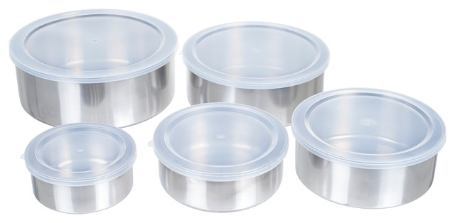 5-Piece Stainless Steel Bowl Set With Lids.