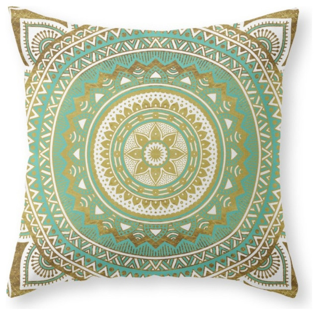 Blue and gold mandala throw pillow mediterranean for Blue and gold pillows
