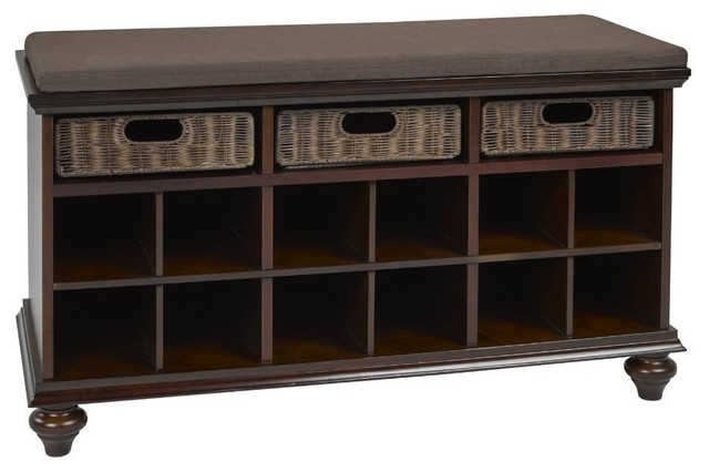 Brassex Solid Wood Shoe Cabinet With Storage, Espresso