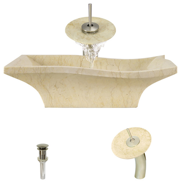Egyptian Yellow Marble Sink, Brushed Nickel, Waterfall Faucet.