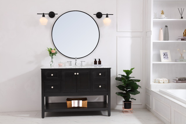 Black Finish And Frosted White Glass 1-Light Left Wall Sconce