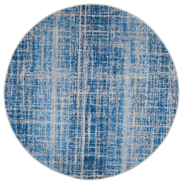 Cameron Area Rug, Blue/silver, 6&x27;x6&x27; Round.