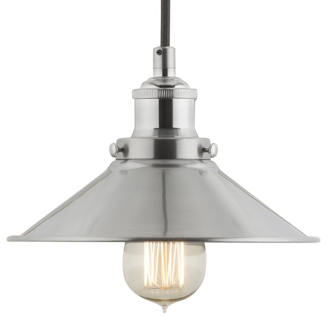 Industrial Factory Pendant Lamp Brushed Nickel One Light