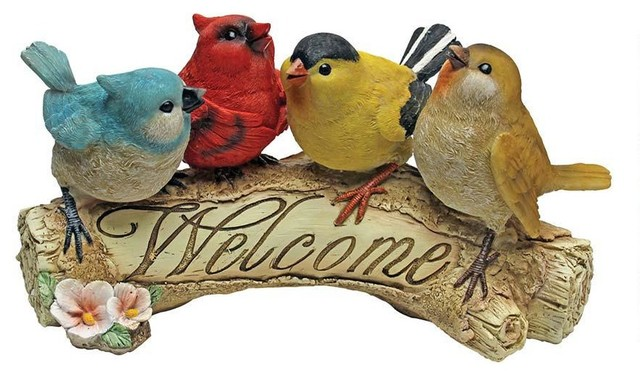Bird Sparrow Welcome Garden Sculpture Statue Contemporary