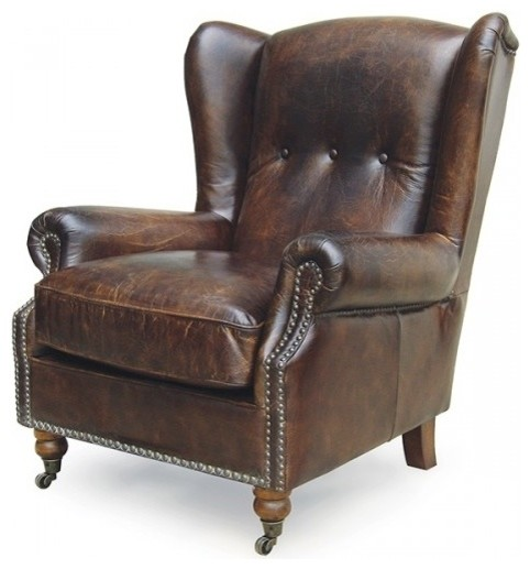Tufted Chocolate Wing Back Chair Traditional Armchairs