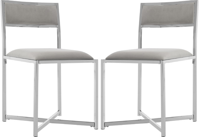 Menken Chrome Side Chair, Set Of 2, Gray, Chrome.