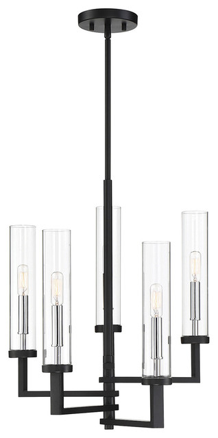 Folsom 5 Light Chandelier in Matte Black with Polished Chrome Accents