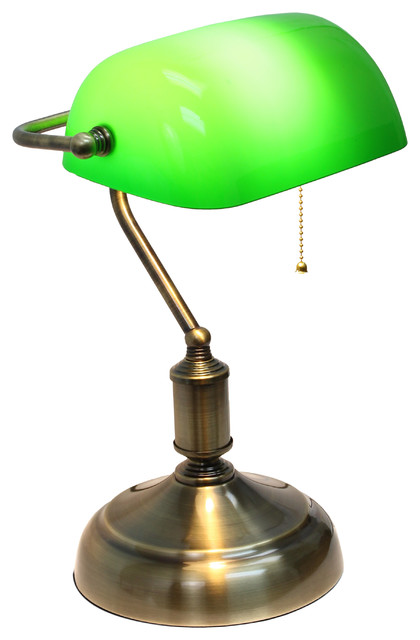 Simple Designs Executive Banker S Desk Lamp Gl Shade Green Antique Nickel