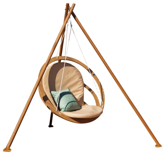Circa Hanging Chair and Tripod Frame, Harvest Wheat Cushion ...