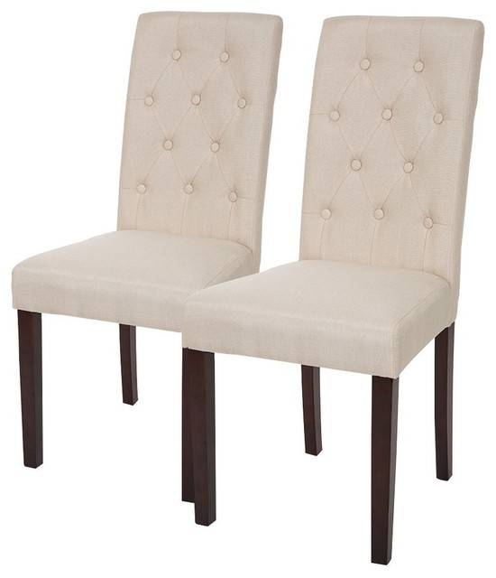 Set Of 2 Fabric Dining Chair With Tufted Back