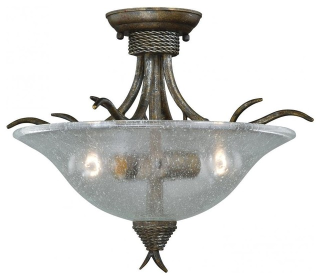 Autumn Patina and Clear Seeded Glass Semi Flush Ceiling Light rustic-flush- mount-  sc 1 st  Houzz & Autumn Patina and Clear Seeded Glass Semi Flush Ceiling Light ... azcodes.com