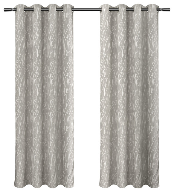 Forest Hill Woven Room Darkening Grommet Curtain Panels