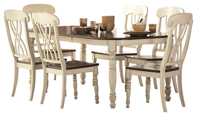 Great Homelegance Ohana 5 Piece Rectangular Dining Room Set In White/ Cherry