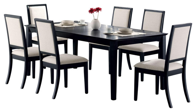 lexton dining 7-piece table set, black with cream chenille seats