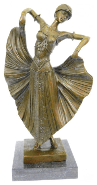Art Deco Chiparus Belly Dancer Bronze Figurine Hot Cast Statue Sculpture Sale