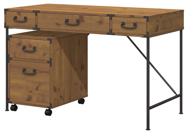 "Ironworks 48"" Writing Desk And 2 Drawer Mobile Pedestal, Kathy Ireland Office."