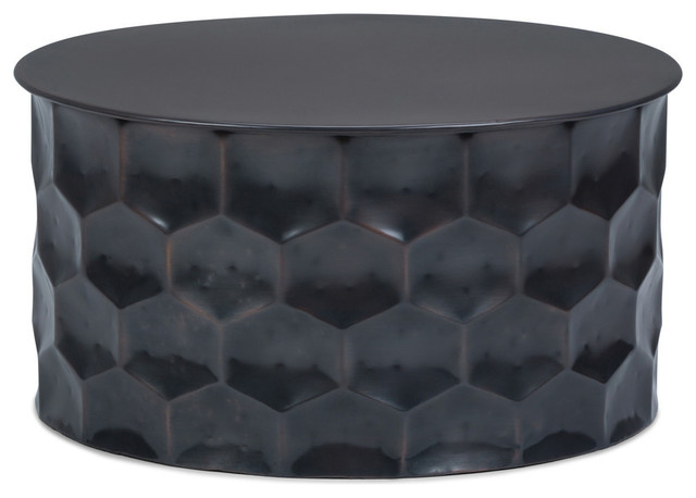 """Whitney Contemporary 31"""" Wide Metal Storage Coffee Table, Antique Bronze"""