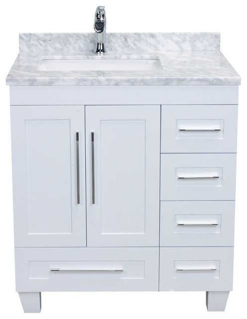 "Rosa Single Bathroom Vanity With Carrera Marble Countertop, White, 30""."