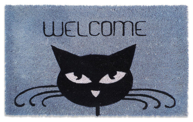 Cat Welcome Hand Stenciled Decorative Doormat.