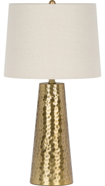 "Virtue Home Fucina Table Lamp, Brushed Gold Finish, Natural Linen Shade, 25.5""."