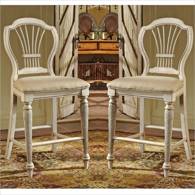 Hillsdale Wilshire White 24 Counter Stools, Set Of 2.