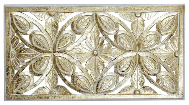 Rectangular floral wall plaque 45x85 cm transitional - Romimex world ...