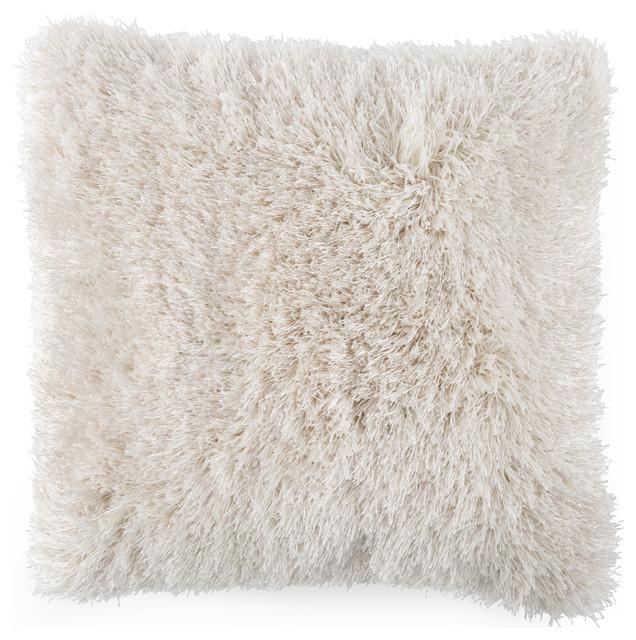"Lavish Home Shag Floor Pillow 21""x21"", Beige"