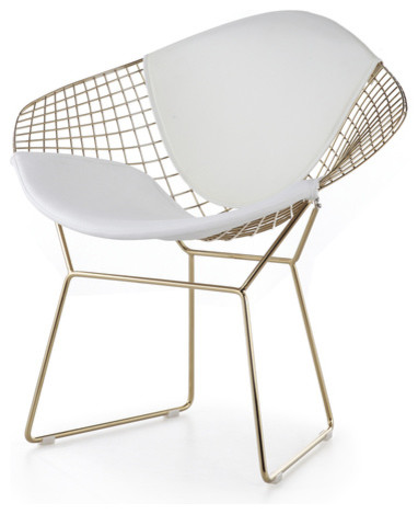 Wire Mesh Diamond Accent Chair In Gold Finish Midcentury