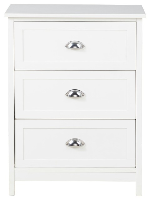 Country, Commode With 3 Drawers, White