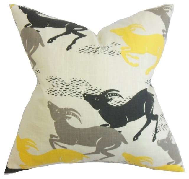 Naenia Animal Print Pillow Yellow Contemporary Decorative Pillows By The Collection