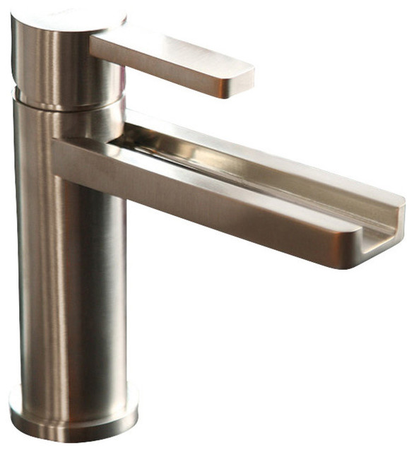 Brushed Chrome Bathroom Faucets waterfall bathroom faucet - contemporary - bathroom sink faucets