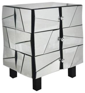 Modrest Mirrored Night Stand - Contemporary - Nightstands And Bedside Tables - by Boho Furniture ...