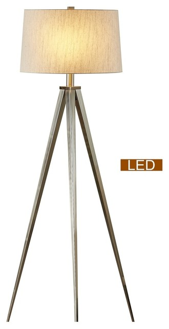 Artiva Usa Hollywood 63 Led Tripod Floor Lamp With Dimmer Satin Nickel