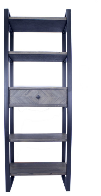 Modern 5-Shelf, 1-Drawer Bookcase and Display Organizer, Gray