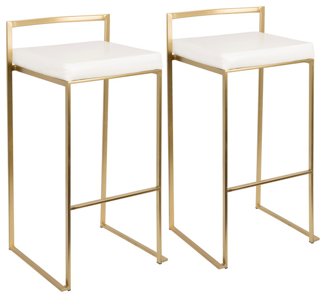 Fuji Bar Stools, Set of 2, Gold, White