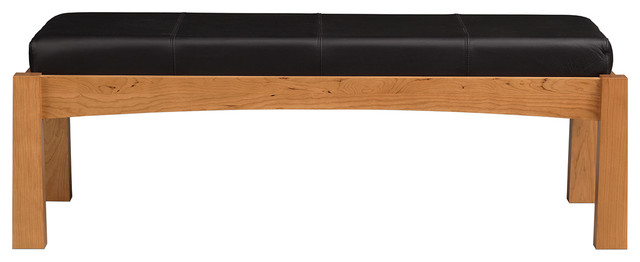Copeland Furniture Berkeley Bench With Microsuede, Smoke Cherry, Sand Microsuede.