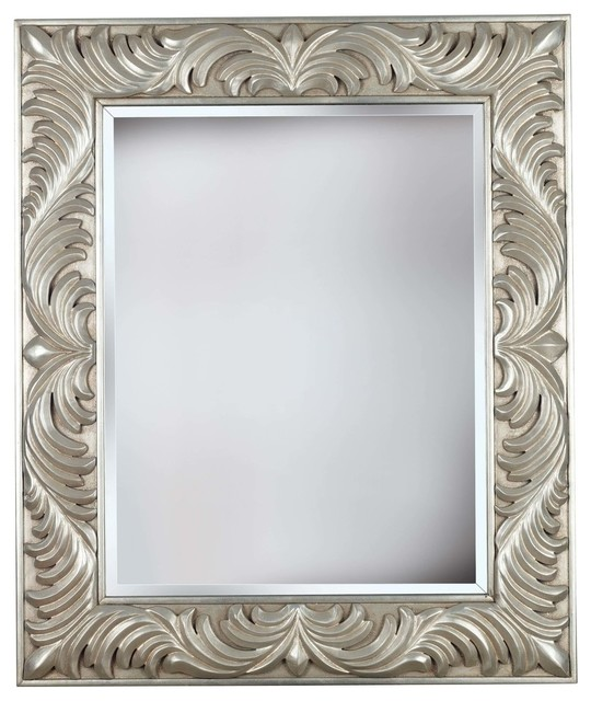 Antoinette Wall Mirror, Gilded Antique Silver Finish.