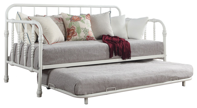 Twin Metal Daybed With Trundle, White.