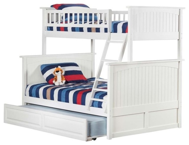 Atlantic Furniture Nantucket Twin Over Full Trundle Bunk Bed, White.