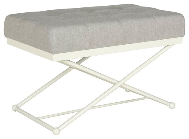 Cara Bench, Light Gray And Cream Finish.