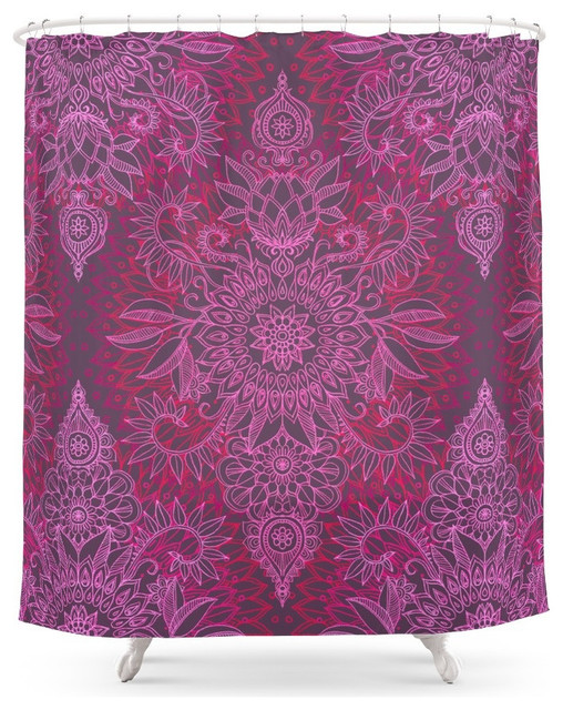 Society6 Society6 Magenta Pink And Coral Protea Doodle Pattern Shower Curtai
