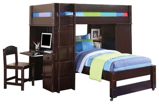 All In 1 Wenge Finish Twin Over Size Loft Bed Bookcase Desk