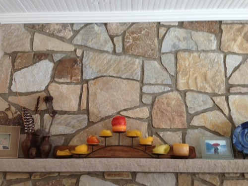 Grout color on fireplace wall