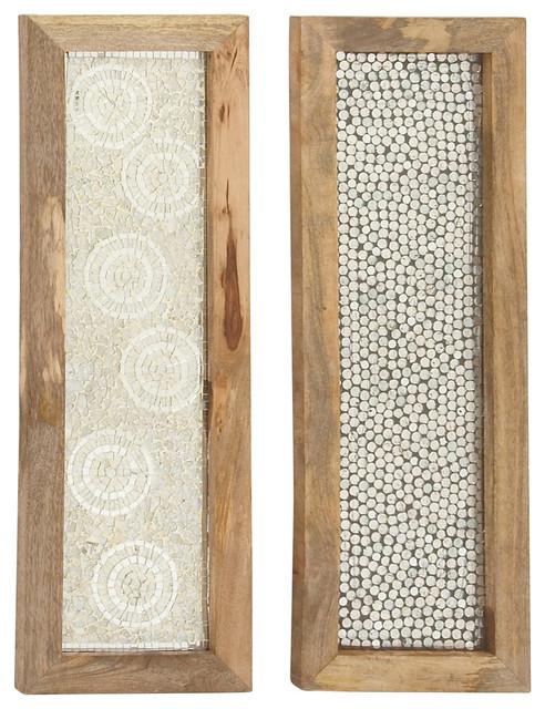 "Wooden Mosic Wall Panels, 2-Piece, 12""x36""."