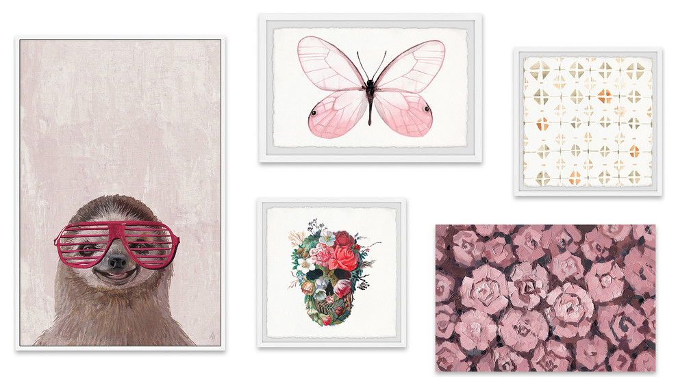 Peekaboo Blush Pentaptych Contemporary Prints And Posters By Marmont Hill